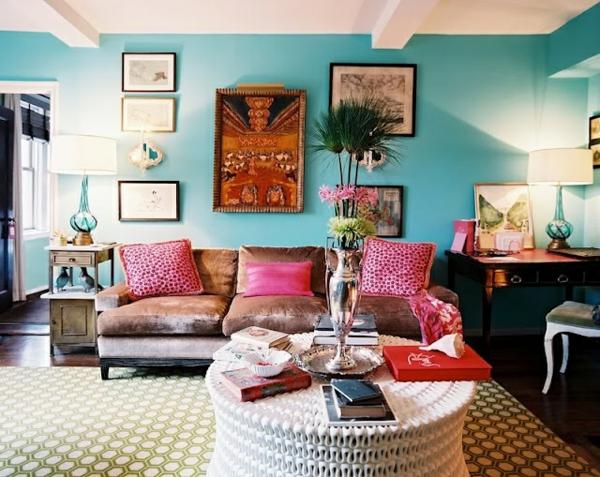wandgestaltung in rosa: die nische wirkt durch kombination ... - Wohnzimmer Rosa Turkis