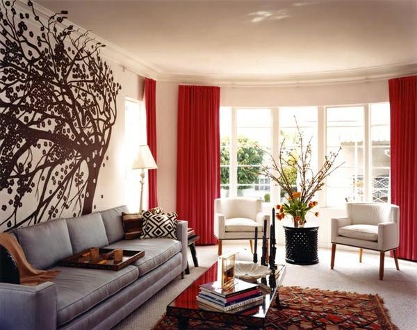 rote vorhänge gardinen ideen im wohnzimmer gardinenschiene gardinenbefestigung