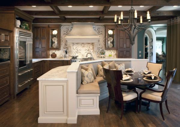 rustikal modern kücheninsel kochen sitzecke esstisch