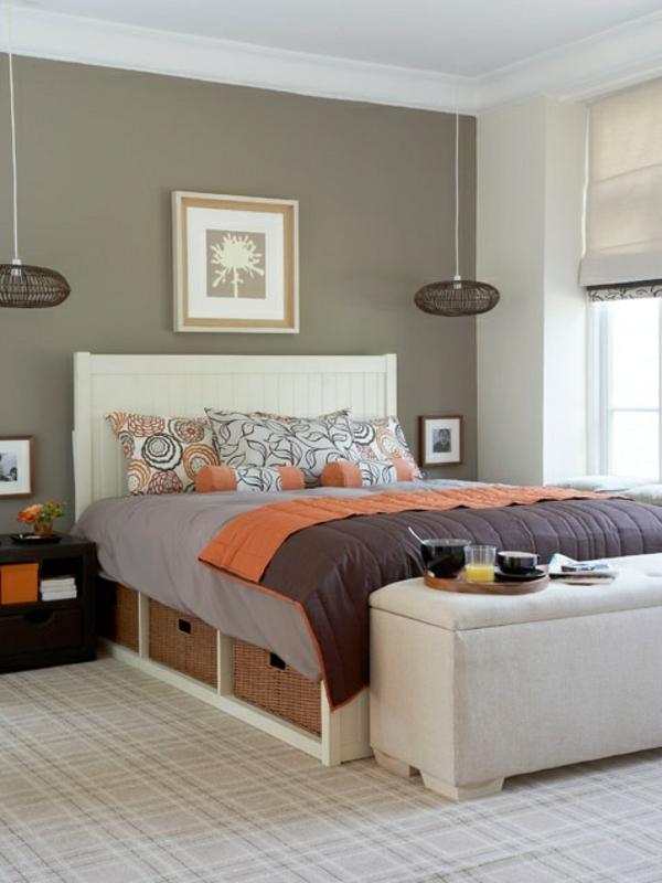 ideen für schlafzimmergestaltung symmetrische pendelleuchten