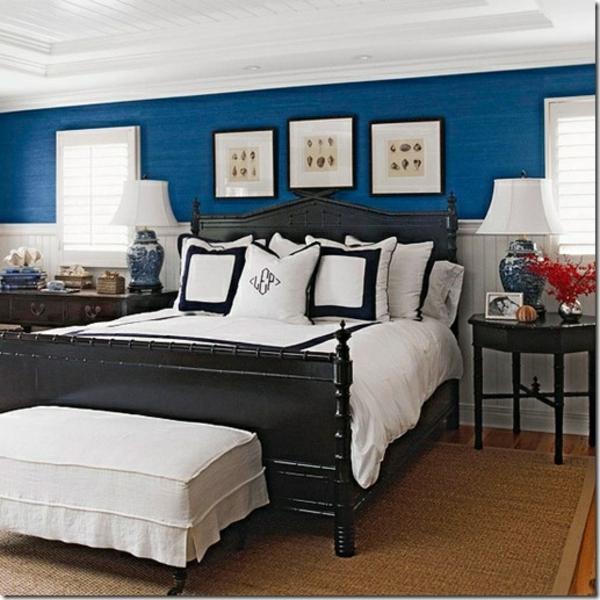 schöne wandfarben kombination blau weiß schwarz