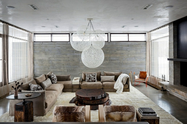 schönes wohnzimmer mit plüsch dekoideen