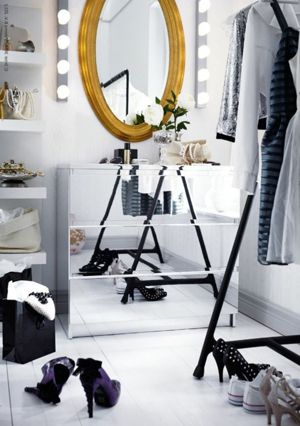 schein glanz oval wandspiegel kommode spiegeltüren