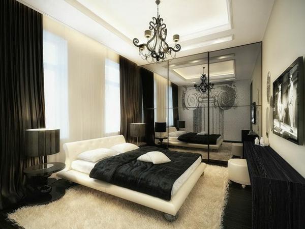 schlafzimmer dekoideen schwarz weiß bett kleiderschrank