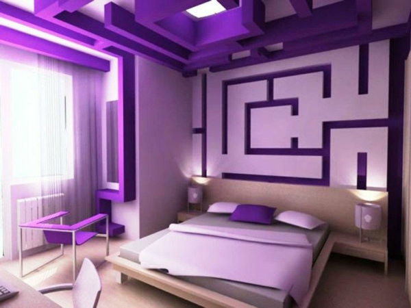 schlafzimmer design ideen schöne wandfarben in lila bett