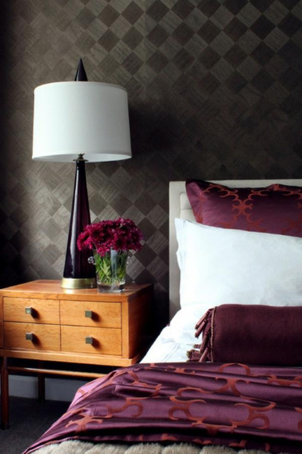 schlafzimmer design ideen schwarze wand bett