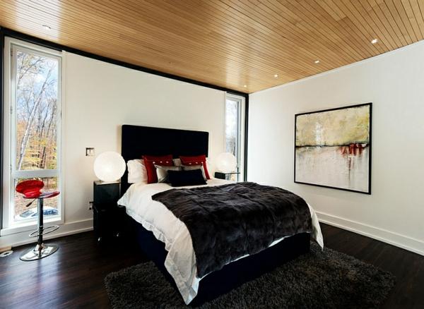 schlafzimmer farben ideen schwarz-weiß rot bett bild im rahmen