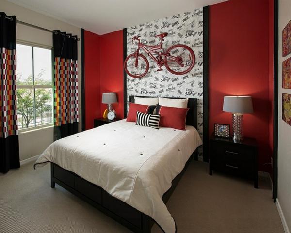 schlafzimmer farben ideen schwarz-weiß rote wandgestaltung gardinen