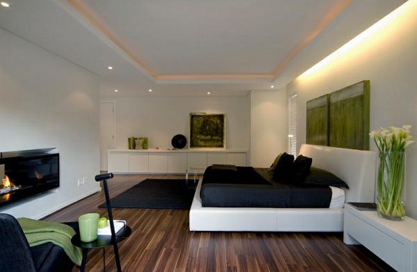 schlafzimmer farben ideen weiße wände schwarze akzente teppich bett