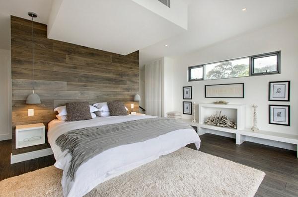 Schlafzimmer ideen wandgestaltung holz  Idee Gold Schlafzimmer