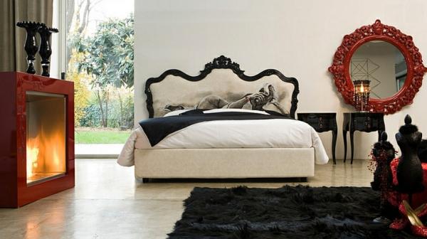 schlafzimmer im orientalischen stil bett teppich kamin spiegel