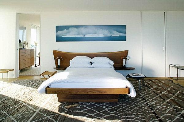 schlafzimmer innendesign ideen bett geomethrischer teppich