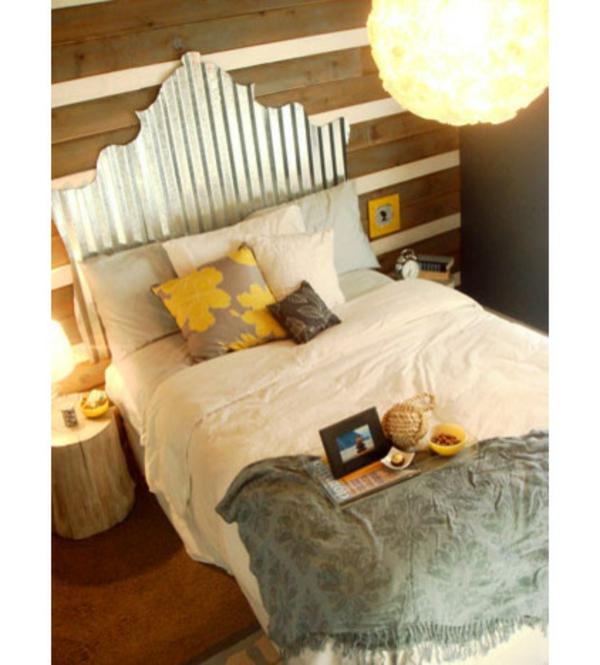 schlafzimmer interior design bett mit wellblech kopfteil