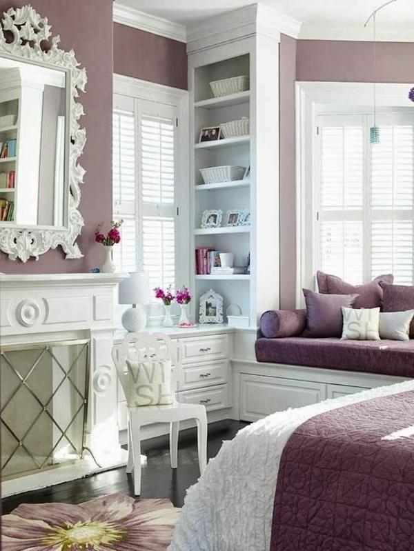 schlafzimmer luxuriös gestalten schöne wandfarben einbauregal