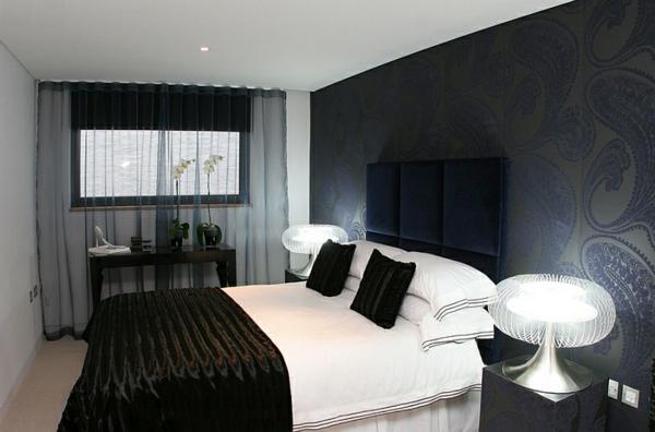 schlafzimmer paisleymuster wandgestaltung schlafzimmerwand