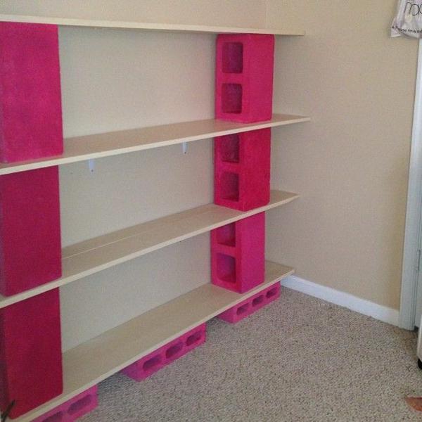 schlakenbetonblocke rosa wandregal selber bauen