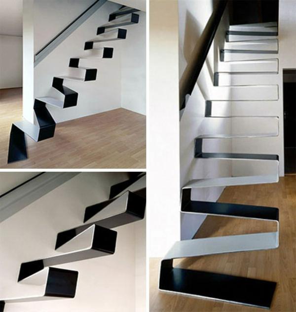 schleifentreppe gestalten schwarz weiß