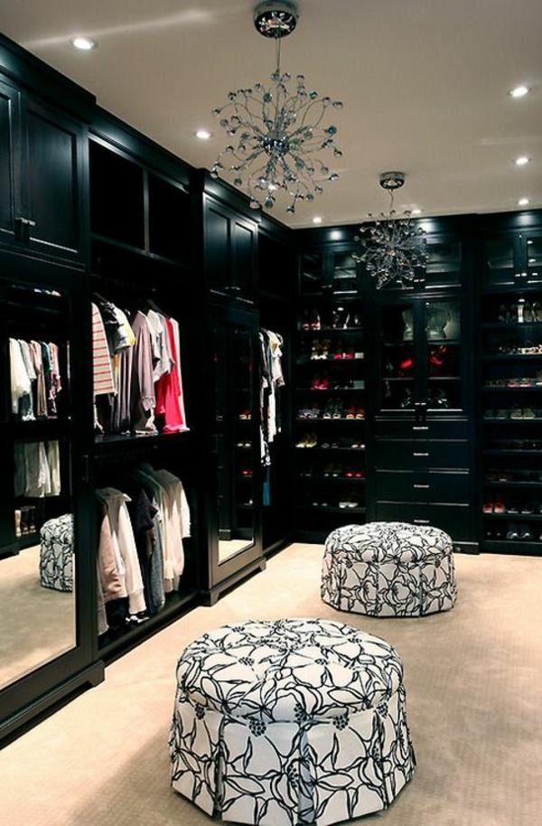 schwarz kleiderschrank lackiert hocker bezogen muster weiß