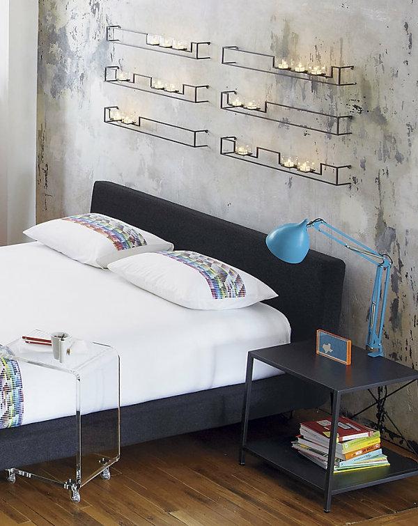 schwarz nachttisch industriell schlafzimmer möbel