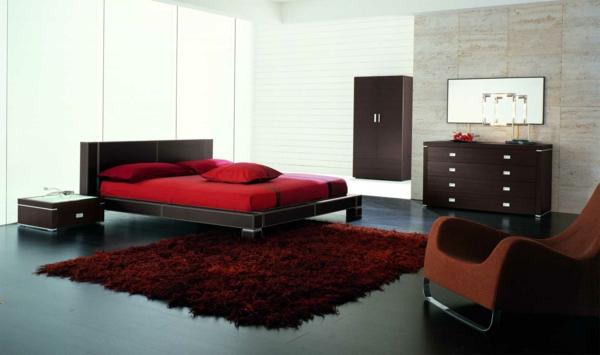 Schwarz Rot Leidenschaft Kombiniert Schlafzimmer Einrichten  Schlafzimmerwand Gestalten U2013 Wanddeko Hinter Dem Bett | Innenarchitekt ...