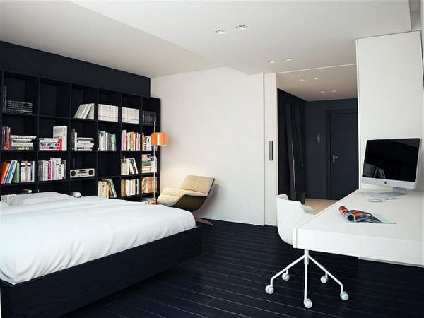 schwarz weiß wandfarben schlafzimmer minimalistisch einrichten bürostuhl