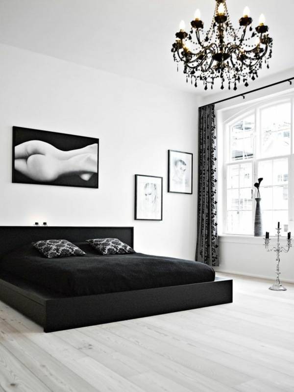 Schlafzimmer weiß schwarz  25 attraktive Ideen für Schlafzimmergestaltung