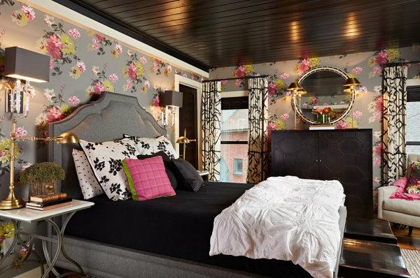 schwarze Schlafzimmermöbel kleiderschrank blumenmuster