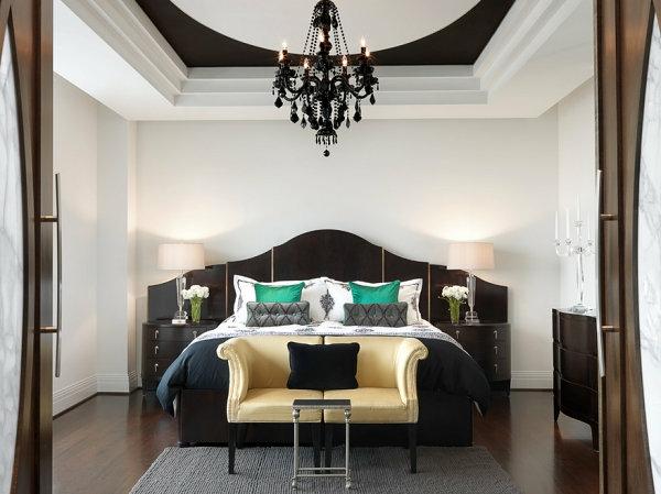 schwarze Schlafzimmermöbel luxus kronleuchter sitzbank
