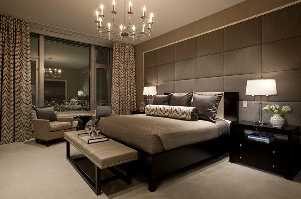 schwarze Schlafzimmermöbel modern kopfteil polsterung