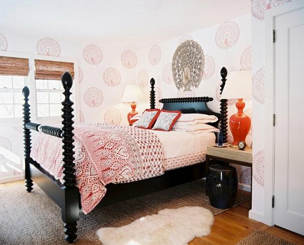 schwarze Schlafzimmermöbel orange farbe eklektisch
