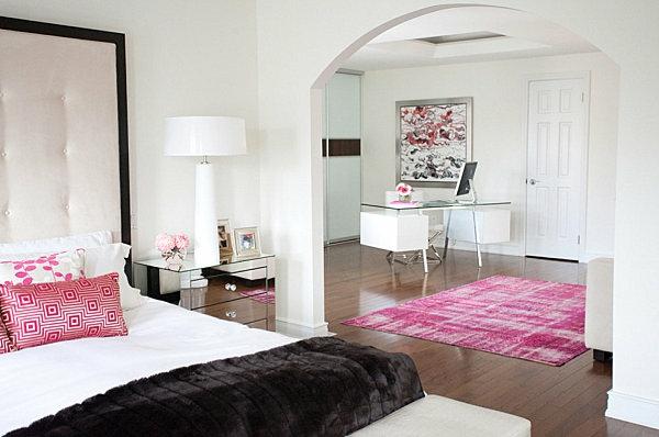 schwarze Schlafzimmermöbel pink weiß einrichtung