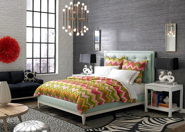 schwarze Schlafzimmermöbel sofa chavron muster bunt