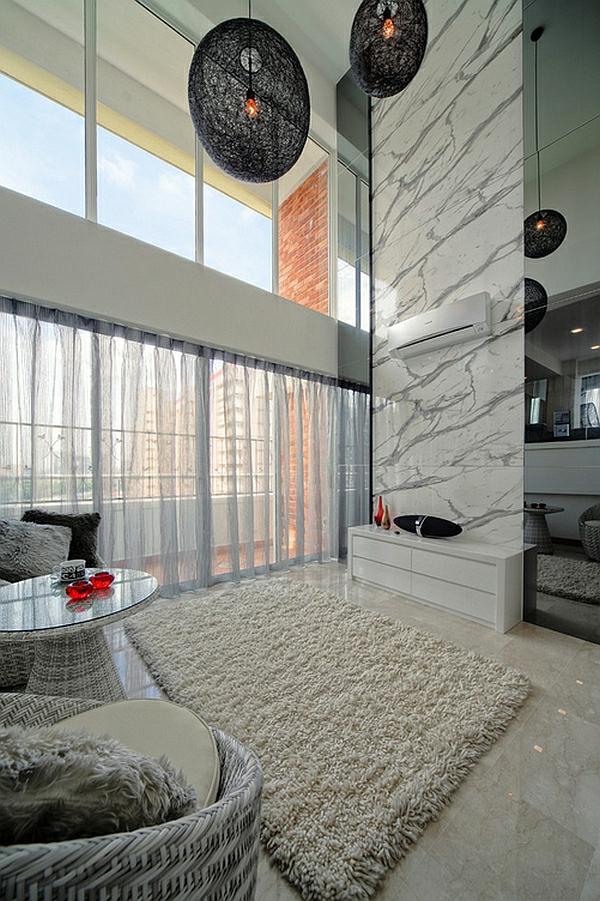 schwarze weiße farben wohnzimmer modern marmor Coole Gardinen Ideen