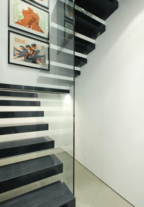 schwebende schwarze treppe glas geländer bilder
