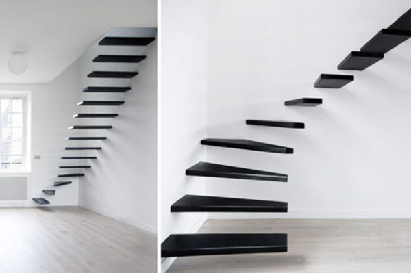 schwebende treppe in schwarz-weiß