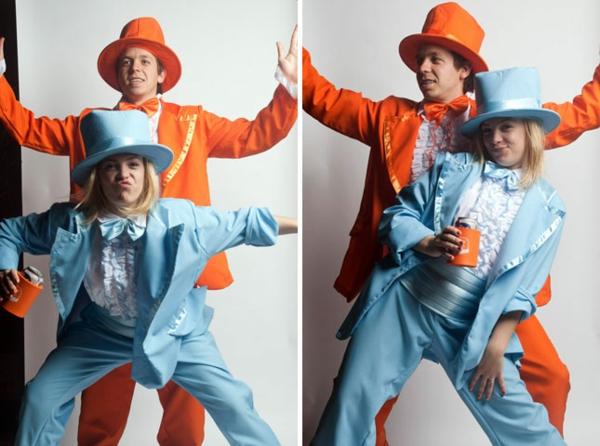 diy kostüme karneval fasching helloween blau orange dumm