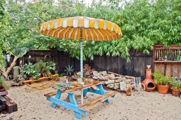 sonnenschirm steine gartendeko frische Ideen für Partydeko frühling