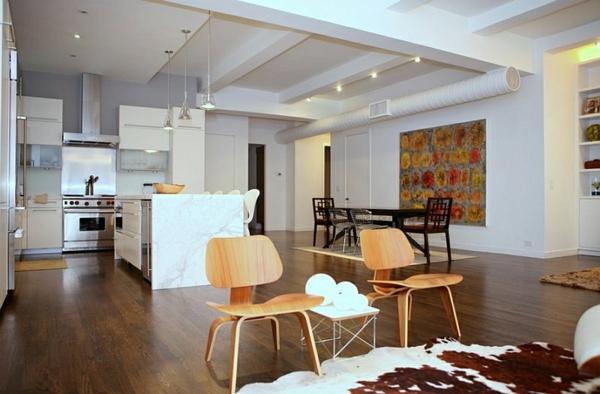 stühle beistelltisch bodenbelag marmor kücheninsel