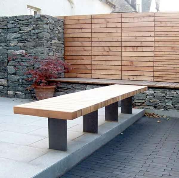 steinmauer holz elemente garten design sitzbank beton