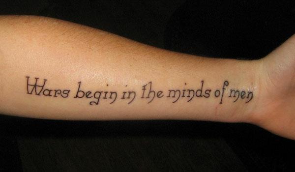 tattoo sprüche idee krieg arm