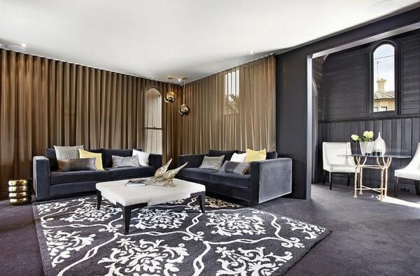 teppich muster schwarz farbgestaltung gardinen