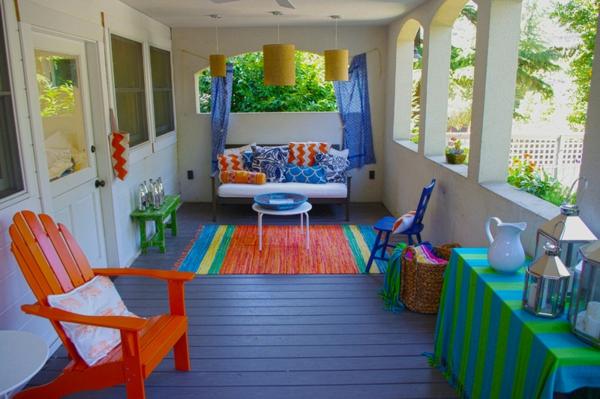 teppich terrasse bunt farben frische ideen für partydeko frühling
