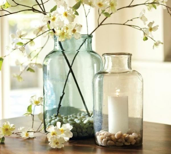 terrarium ideen kerzenständer kieselsteine blumen