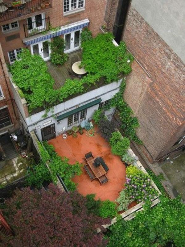 terrassengestaltung bilder blick vom oben pflanzen