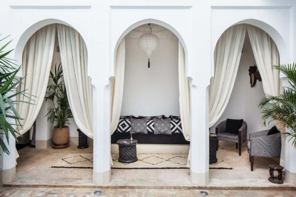 terrassengestaltung ideen maritimer stil sessel sofa baldachin
