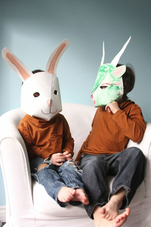 papier masken basteln fasching kinder hasen weiß