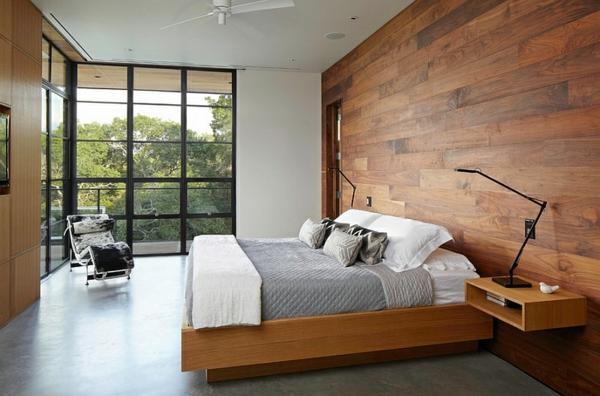 Schlafzimmer ideen wandgestaltung holz  Das Schlafzimmer minimalistisch einrichten - 50 Schlafzimmer Ideen