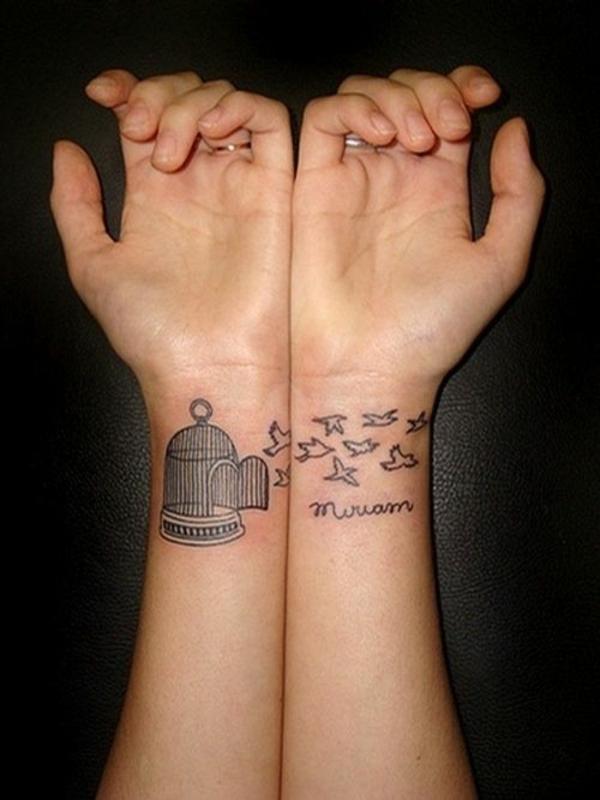 tolle ideen für handgelenk tattoo käfig