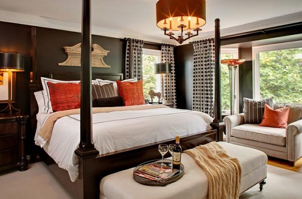 tolle schlafzimmer farben ideen warme töne himmelbett