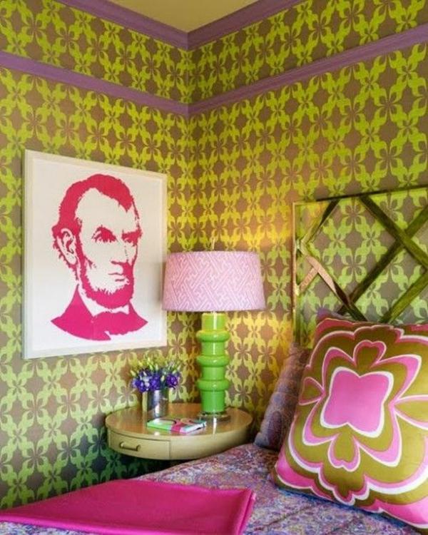 Wandtapeten Jugendzimmer : tolle wandtapeten im jugendzimmer bett beistelltisch tischlampe